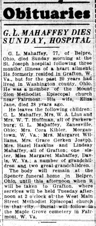 MAHAFFEY Gibson L. 1935 - obituary - detail