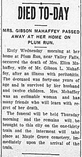 Eliza Jane Mahaffey death notice detail