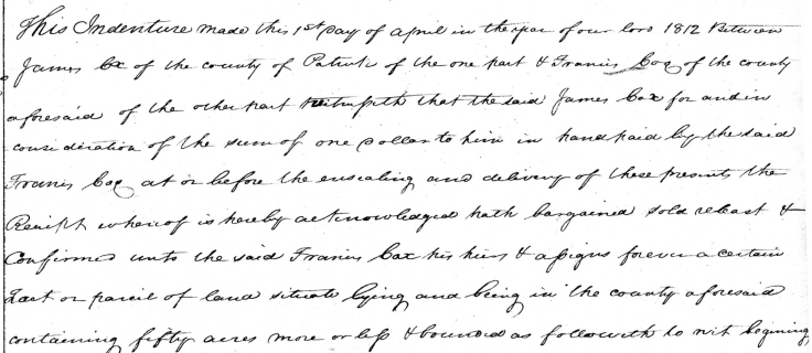 Patrick County, Virginia, Deed Book 3, Page 517, James Cox to Fr