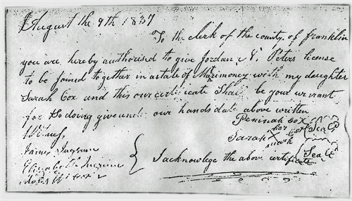 Permission to marry dated 9 August 1837
