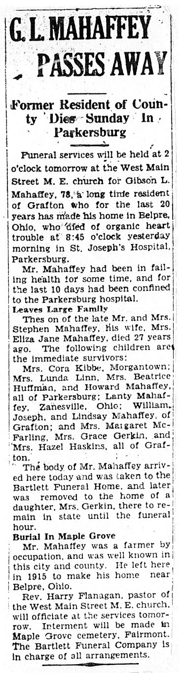 MAHAFFEY Gibson L. 1935 - obituary (Taylor County Library - b)